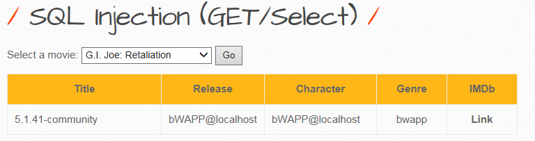 imp - [bWAPP] SQL Injection (GET[POST]/Select)