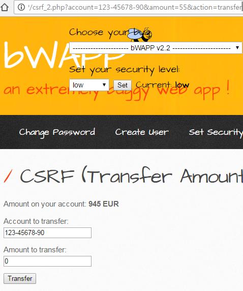 imp - [bWAPP] CSRF (Change Password)